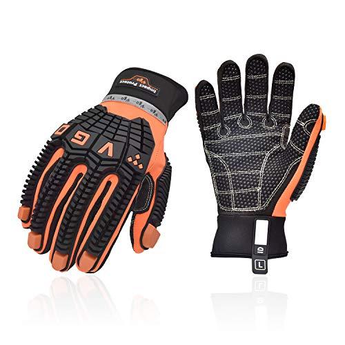 Vgo Arbeitshandschuhe Anti-Vibration, Öldicht, Aufprallschutz, wasserabweisend, Sicherheits-Kunstleder, (SL9768 Orange) (L, Orange)