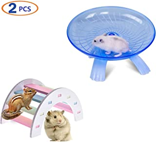 Hamster Flying Saucer Exercise Wheel & Rat Wood Bridge Rainbow Climb - Durable ABS Plastic Running & Jogging Running Silent Spinner - For Mouse Hedgehog Chinchilla Pets Mice Hamsters Gerbil Cage Toy