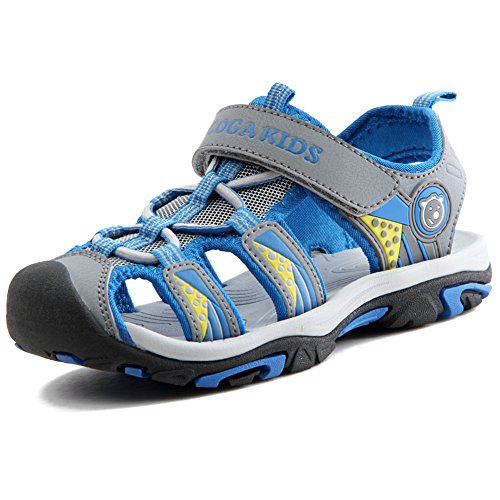 Sommer Sandalen Jungen Ultraleicht Geschlossen Trekking Wandern Schuhe Mädchen Unisex Kinder Outdoor Sport Strand mit Klettverschluss Grau A 38 EU