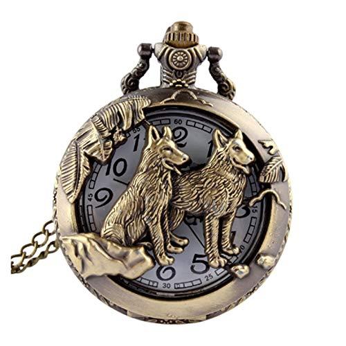 LiQinKeJi8 Reloj de bolsillo de bronce con diseño de perro lobo y perro, reloj de bolsillo de cuarzo con cadena y colgante para hombres y mujeres (color: como se muestra en la imagen).