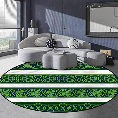 Irish Polyester Primitive Washable Carpet Easy-Care Indoor/Outdoor Area Rug Shamrock Borders Art 5'6' in Diameter
