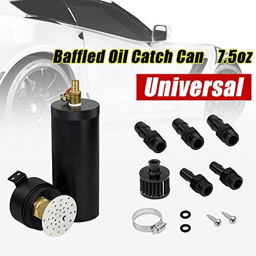PTNHZ Universal 3/8' NPT Billet Aluminum Baffled 2-Port Oil Catch Can Tank with Breather Filter Engine Mini Oil Separator