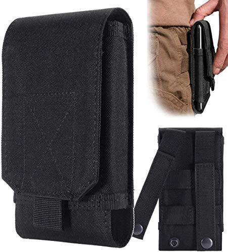 I-WILL Bolso Cinturon de Teléfono Celular Hombre, Mini Riñonera Bolsa Táctica Bolso Compacta de Cintura Gancho Caso Fundas Bolsillo para Teléfono Celular iPhone 12 Pro Max 11 XR - Negro