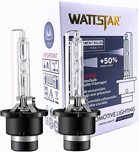 Wattstar OEM Qualität D2S 8000K, Xenon-Scheinwerfer, HID D2S-Scheinwerfer, Xenon-Scheinwerferlampen, HID Xenon-Lampe (2er-Pack). ………
