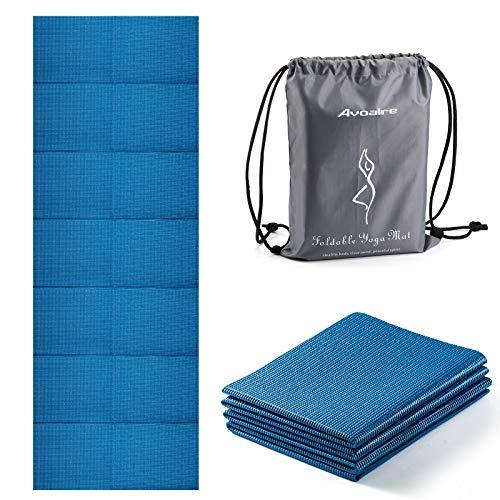 Avoalre Tappetino Yoga Antiscivolo Pieghevole, Tappetino Yoga Antiscivolo in PVC Spesso 5 mm Facile da Piegare per Fitness Yoga Esercizio Pilates Sport, 173x61CM, Blu