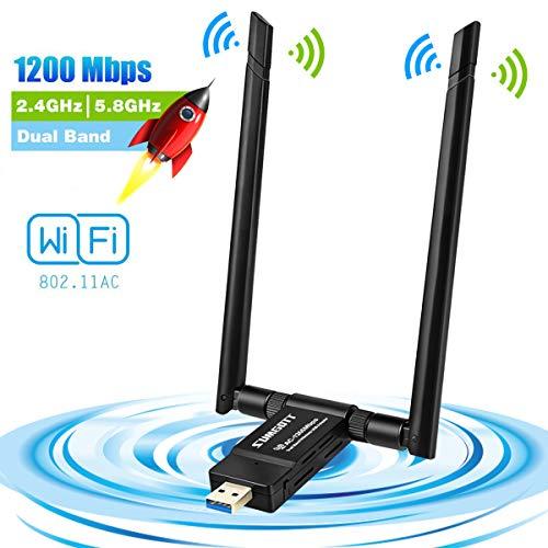 sumgott WLAN Stick WiFi Adapter WLAN USB Adapter1200Mbps 5dBi Antenne Netzwerk/USB 3.0 WiFi Dongle Dual Band 2.4GHz/300Mbps 5.8GHz867Mbps für Mac OS X, PC/Desktop/Laptop Windows 10/8.1/8/7/VISTA