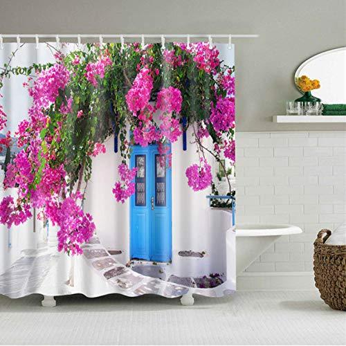 gexingshangdian Bloem afdrukken mouldproof douchegordijn waterdicht polyester vlinder gordijn met haak badkamer gordijn huisdecoratie