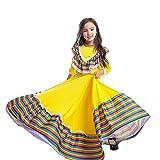 Nobranded Costumes De Robe De Danse Folklorique Mexicaine pour Enfants Filles, Day of The Dead Morte Performance De Scène Déguisement Tenue Halloween Taille 3-14 Ans (L(11-14 Years),Yellow)