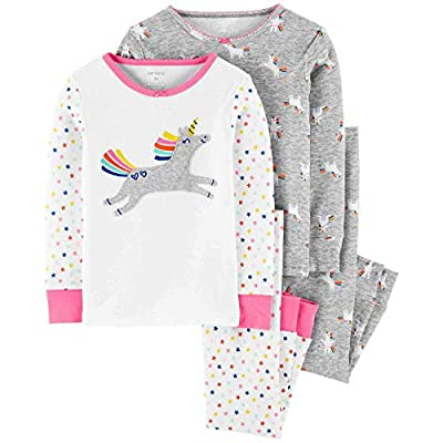 Carter's 4-Piece Unicorn Snug Fit Cotton PJs (18 Months) Pink and Gray