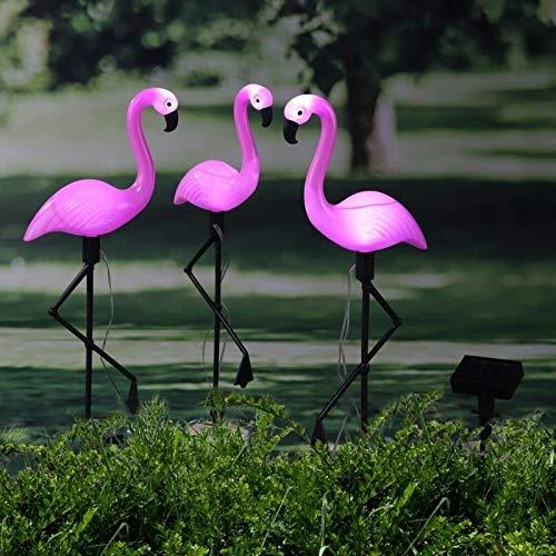 Outdoor Solar Lights, newfen 3Pack Flamingo Garden Led Stake Light Solar Powered Waterproof Pathway Lawn Yard Landscape Path Decorative Lights