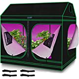 Quictent 8x4x6 ft Grow Tent 96'x48'x71' Roof Cube Mylar Hydroponic Plant Growing Tents with Observation Window and Removable Floor Tray for Indoor Plant Growing