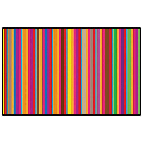 Abstract Home Decor Collection Outdoor Patio Rug Laundry Room Rug Colorful Symmetrical Shapes Vertical Stripes Lines Simple Stylish Modern Art Home Decor Floor Carpet Red Yellow Green