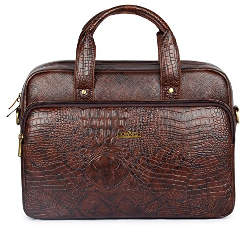 15.6' Crocodilan Pattern Vegan Leather Laptop Briefcase, Business Messenger Bag