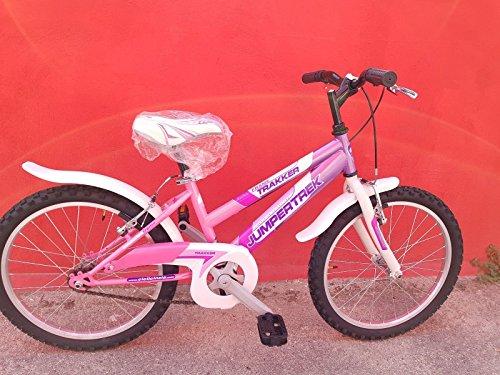 CINZIA Bici Bicicletta Donna 20' Trakker MTB Senza Cambio (Bianco-Celeste)