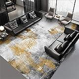 Alfombras Salon Grandes, Alfombra de Pelo Corto Moderna, Tinta de Oro Gris Negro Abstracto Simple - para Comedor, Dormitorio, Pasillo y Habitación Juvenil 60X110CM(2ft x 3.6ft)