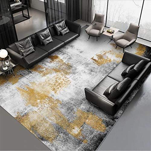 Alfombras Salon Grandes, Alfombra de Pelo Corto Moderna, Tinta de Oro Gris Negro Abstracto Simple - para Comedor, Dormitorio, Pasillo y Habitación Juvenil 140X200CM(4.6ft x 6.5ft)