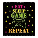 Gamer Shower Curtain Creative Modern Game Console Game Controller Funny Quote Eat Sleep Game Repeat Kids Video Game Boys Cool Black Fabric Bathroom Curtain Set 70x70 Inch with Hook