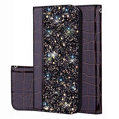 Felfy Kompatibel mit Galaxy J7 Prime Hülle Case,Kompatibel mit Galaxy On7 2016 Tasche Glitzer Glänzend Handyhülle Premium PU Leder Brieftasche Schutzhülle Flip Cover mit Kartenfächer,Schwarz