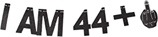 I AM 44+1 Black Gliter Paper Banner, 45th Birthday Party Backdrops Funny/Gag 45 Bday Party Decorations Sign