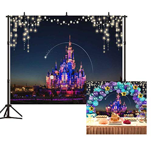 Disney Castle Backdrop Night View of Disneyland Photography Background for Infant New Born Baby Party 7x5ft Kids Birthday Party Banner Decoration Photo Studio Props BT034