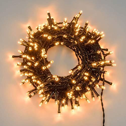 Catena luci di natale 500 led serie luminosa natalizie per esterno interno albero feste eventi cavo verde con trasformatore 31v (Luce calda)