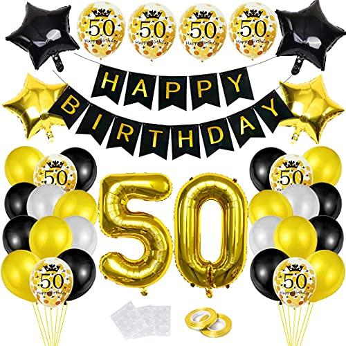 Cumpleaños Globos 50, Decoración de cumpleaños 50 en Oro Negro, Feliz cumpleaños Decoración Globos 50 Años, 50 Globos de Confeti y Globos de Aluminio para chico y hombre