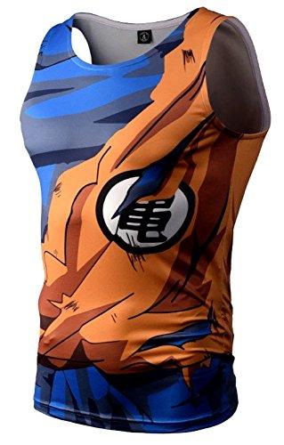 Camiseta Compresion Hombre, Camiseta Manga Corta Licra Deportiva, Cody. (Goku Guerra/sin Mangas) - XL