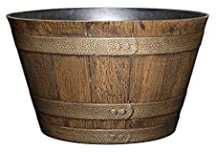 Classic whiskey barrel planter in a Distressed Oak finish with antique pewter colored bands Uv coated finish protects color from fading Lightweight and durable high density resin construction Delivered with drainage holes for outdoor use Top diameter...
