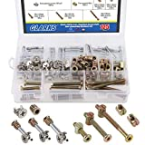 Glarks 125Pcs 3-in-1 Furniture Bolt nut Connection, Hex Drive Socket Cap Furniture Barrel Screws nuts & Cam Fitting & Dowel Nut & Eccentric Wheel for Crib, Wardrobe Splicing, Cabinet Drawer and Chairs
