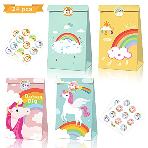Jolintek 24 Pezzi Sacchetti Regalo di Carta, Unicorno Sacchetto di Caramelle con Adesivi, Sacchettini Carta Kraft per Caramelle Compleanno, Feste, Matrimoni, Mercati, Celebrazione