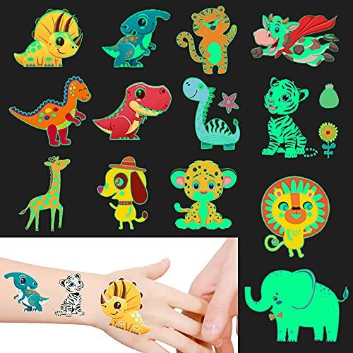 Temporary Tattoos for Kids Luminous Dinosaur + Animal Birthday Party Favors Boys Girls Party Favor Supplies ( 10 Sheet )