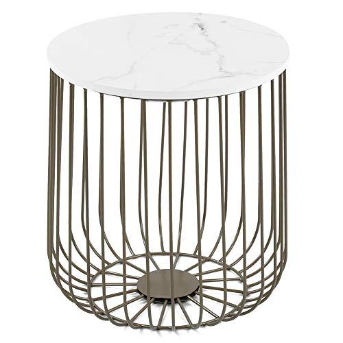 Retro runde Tischplatte Teetisch brandneu für Schlafzimmer(Golden)