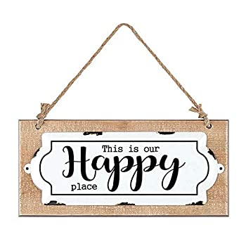This is Our Happy Place Vintage Wood Sign,Antique Wall Decor,Rustic Farmhouse Wall Sign for Home Decor