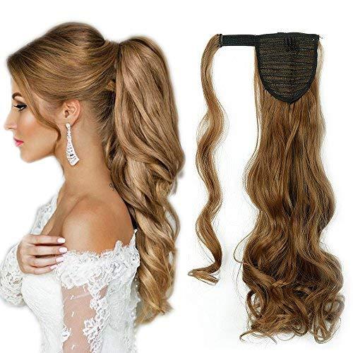 Ponytail Clip in Pferdeschwanz Extension Haarteil Haarverlängerung Zopf Hair Piece gewellt Wavy wie Echthaar Weissbraun Wavy-17
