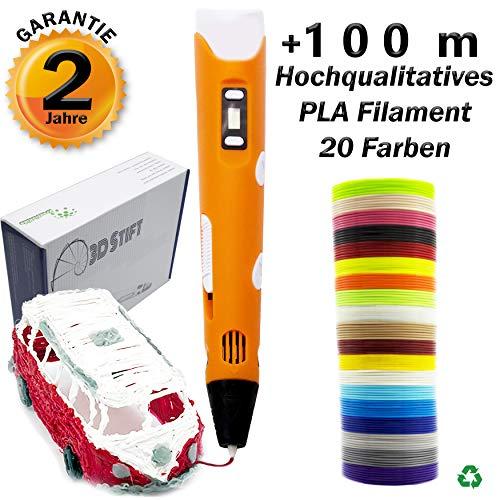 Creative Kids - Penna 3D + 20 colori filamento PLA [100 m], penna per stampa 3D con schermo LCD, per bambini e adulti, filamento PLA [20 colori x 5 m Φ 1,75 mm]