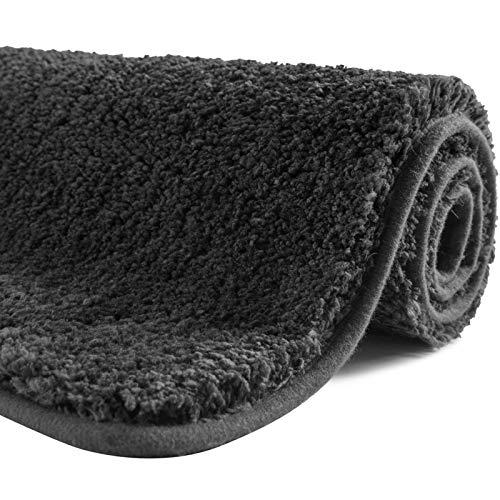 SFLXO Badematte 100cm x 60cm rutschfest-Badvorleger Maschinenwaschbar Anti-Rutsch Badteppich Weich Wasserabsorbierende Badematten Flauschige Mikrofaser Badezimmerteppich Dunkel Grau Mehrweg