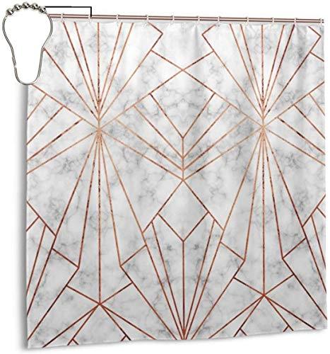 N/A Art-Deco Marmor Kupfer großer Maßstab Duschvorhang Wasserdicht Polyester Duschvorhang Schimmelresistent Anti-Schimmel Badezimmer Duschvorhang Haken mit 12 Stück 180 x 180 cm