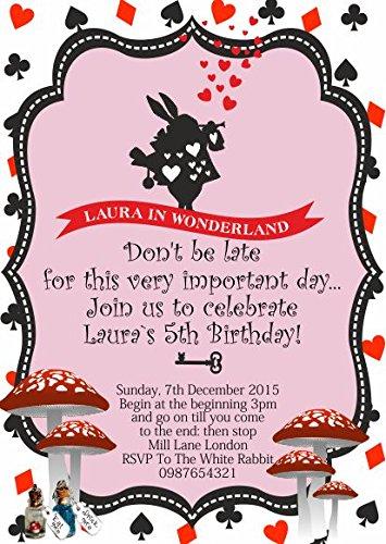 10 x Alice au pays des merveilles personnalisable enfants Fête d'anniversaire Invitations ou cartes de remerciement