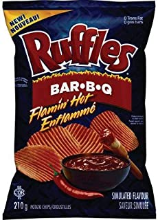 Ruffles Flamin' Hot Bar-B-Q Potato Chips, 210g/7.4oz. Bag, (Imported from Canada)