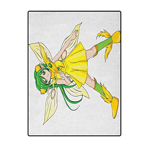 Anime throw rugs bath rugs bath rugs for bathroom Indoor Outdoor Kids Play Mat Nursery Throw Rugs Fantasy Illustration of a Fairy Girl in a Yellow Dress Japanese Manga Yellow Lime Green Ivory 4 x 5 Ft