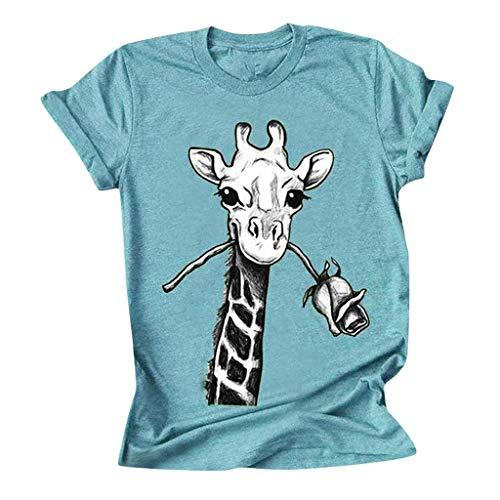 ZZZZZZ Damen Casual Kurzarm T-Shirt Niedlich Giraff Bedruckt Basic Tees Thirt Gr. X-Large, blau