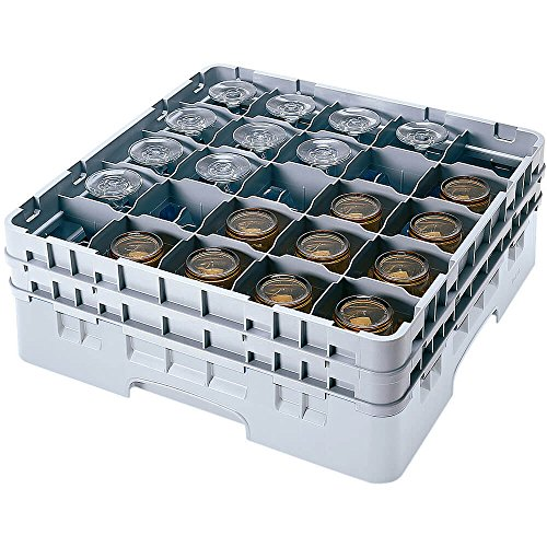 Cambro 25S418-151 4-1/2-Inch Camrack Plastic Stemware and Tumbler Glass Rack with 25 Compartments, Full, Soft Gray