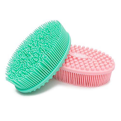 Agirlvct 2 Pack Silicone Loofah Body Scrubber, Soft Rubber Loofahs,Sponge Scrubber Brush,Loofa Bath Shower Kit,Silicon Back Scrubber Eco for Gym Massaging Travel Baby Kids Men Family (Pink Green)