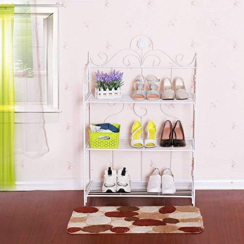 Staande bloemen Shelf Shelf Shelf European Style smeedijzer Multilayer Household Living Room Storage Shelf eenvoudige montage Floorstanding schoenenkast (Kleur: zwart, wit, Maat: 69 * 34 * 102cm, Verp