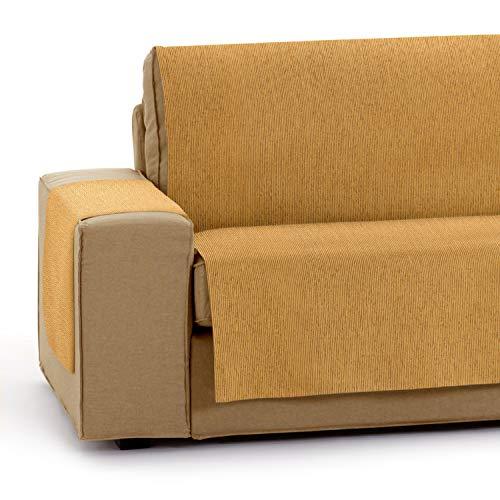 Vipalia Protector Funda para Sofa Ajustable. Cubresofas adaptables. Funda Sofa 3 plazas Antimanchas Chenilla Lisa. Color Ocre. Cubre Sofa 3 plazas (155 cm) 🔥