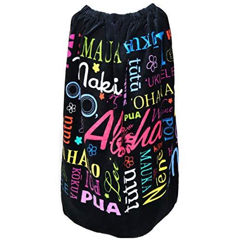女の子 巻きタオル ラップタオル 丈80cm ブラック a0198