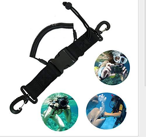 Duiken Lanyard - Nylon Lanyard Coil Lanyard met clips gesp voor Scuba Diving Camera Black Design