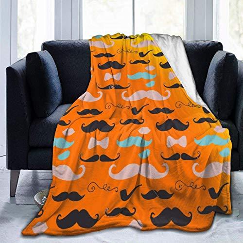 Searster$ Fleece Blanket Simpatica Coperta In Micro Pile Ultramorbida Con Baffi Retrò Per Divano Letto Da Campeggio 50X40 Pollici