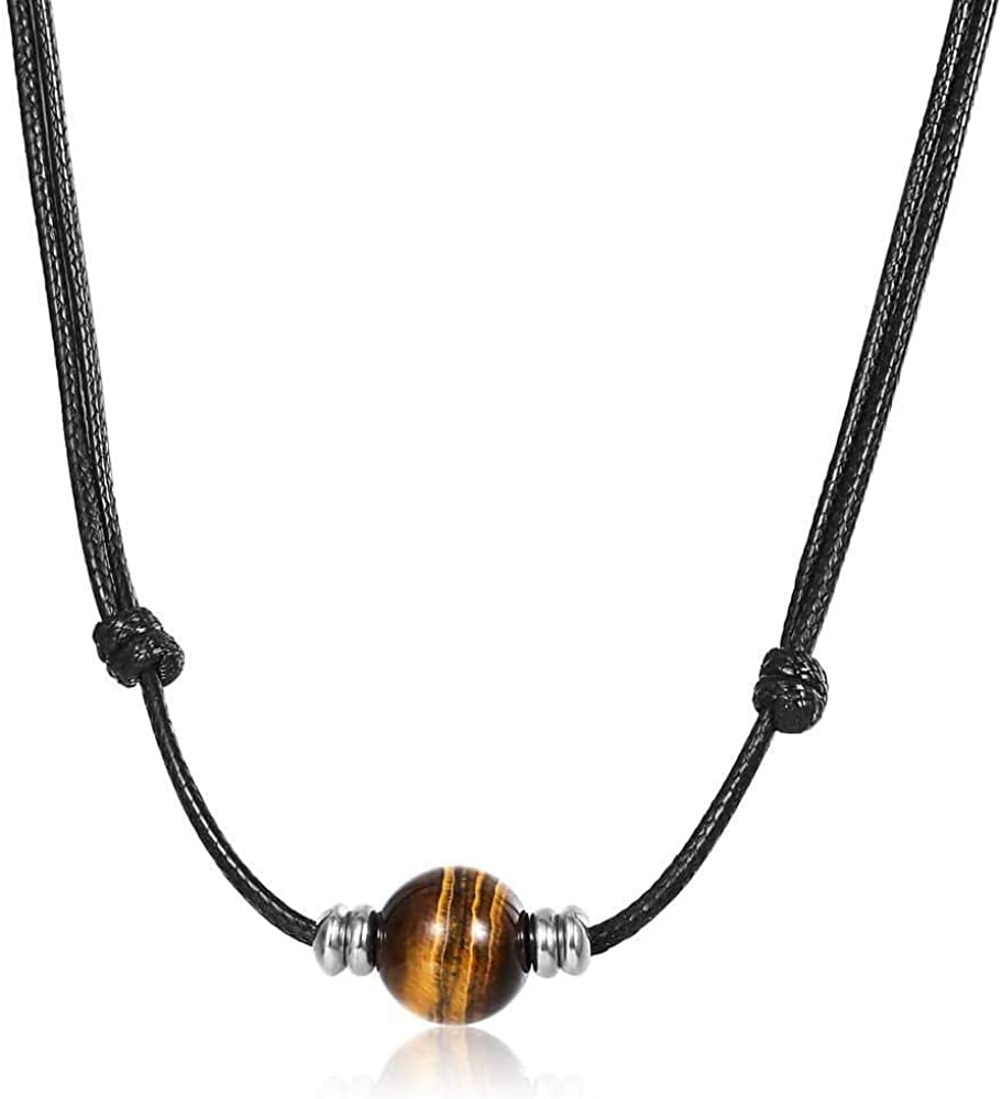 Trendsmax Mens Womens Natural Stone Bead Choker Necklace 1.5mm Leather Rope Chain Adjustable Length