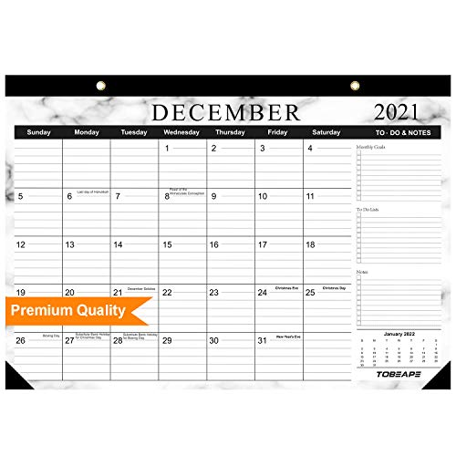 Calendario de escritorio 2019-2020, páginas mensuales grandes de 17 x 12 pulgadas,...